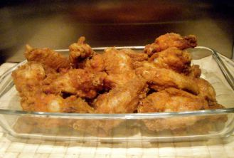 Pre-sauce coating - nice and crispy wings!